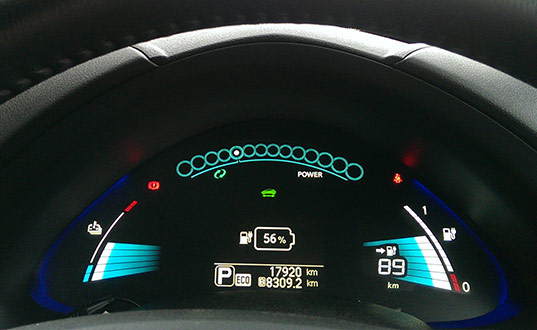 An electric vehicle dashboard.